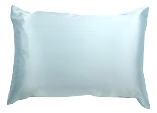 (100% Silk Pillowcase for Hair Zippered Luxury 25 Momme Mulberry Silk Charmeuse Silk on Both Sides of Pillow Cover -Gift Wrapped- (Queen, ICY Blue))