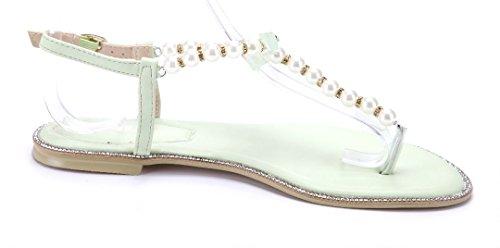 Schuhtempel24 Damen Schuhe Zehentrenner Sandalen Sandaletten Grün Flach Ziersteine/Zierschleife KLDYf4