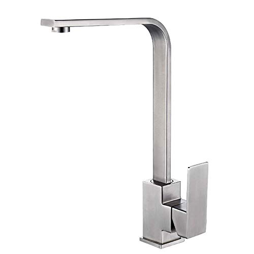 (AWDTN Professional 304 Stainless Steel Brushed Matt Kitchen Faucet 360 ° Rotatable Faucet Sink Mixer Tap Single Lever Mixer Tap Sink Faucet Tall Square Spout Dishwasher Central)