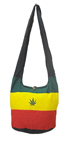 Thai Hippie Hobo Sling Crossbody Shoulder Bag Purse Handmade Zip Jamaica Raggae Rasta Hemp Cotton Gypsy Boho Messenger Large ()