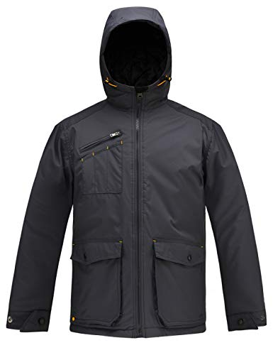 HARD LAND Mens Winter Work Jacket Waterproof Hooded Quilted Military Coat Parka Outerwear