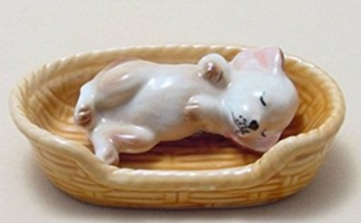 Handmade Animal Figurine ceramic Lovely mini Dog In Basket Figurine Collection Best ()
