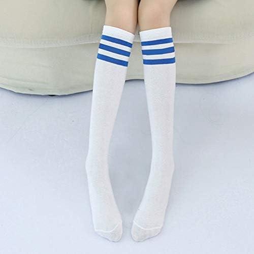 Kaneed ストッキング 子供のための高い膝ソックスストライプコットンスポーツスクールスケートロングソックス (色 : White+Blue Strip, サイズ : 55cm)