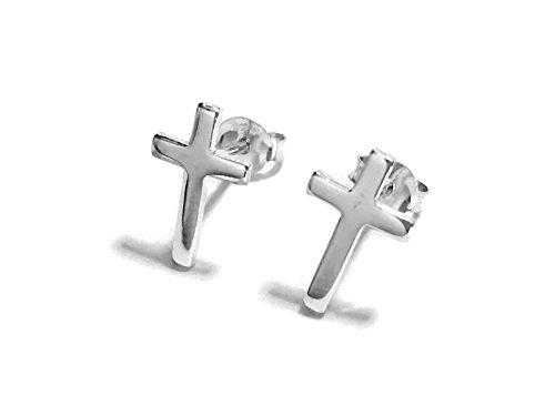 20 Gauge (0.8mm) 925 Sterling Silver Earring Cartilage Women Men Ear Stud Helix Tragus Cross 1/2
