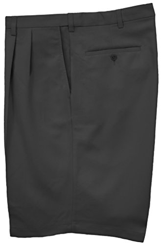 Haggar Big & Tall Men's Pleated Casual Shorts Expandable Waist Black Size 60#898A