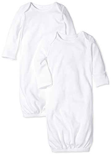 (Moon and Back Baby Set of 2 Organic Sleeper Gowns, White Cloud, 0-6)