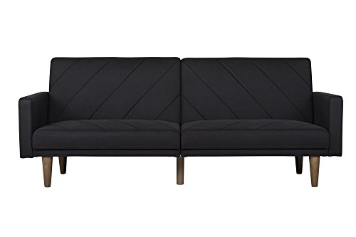 DHP Paxson Convertible Futon Couch Bed with Linen Upholstery and Wood Legs - Black - Mid-Century/Refined retro style Intricate diagonal stitching Solid wood legs - sofas-couches, living-room-furniture, living-room - 31AHkGh84UL -