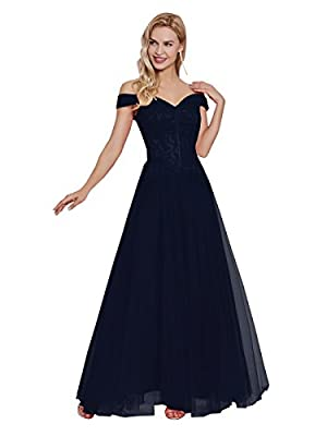 Sisjuly Women's Off Shoulder Tulle Prom Gown A-line Evening Dresses