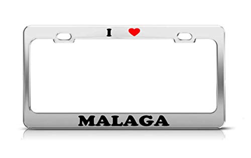 MARKDCK666 I Heart Malaga Spain Metal Auto License Plate Frame Tag Holder