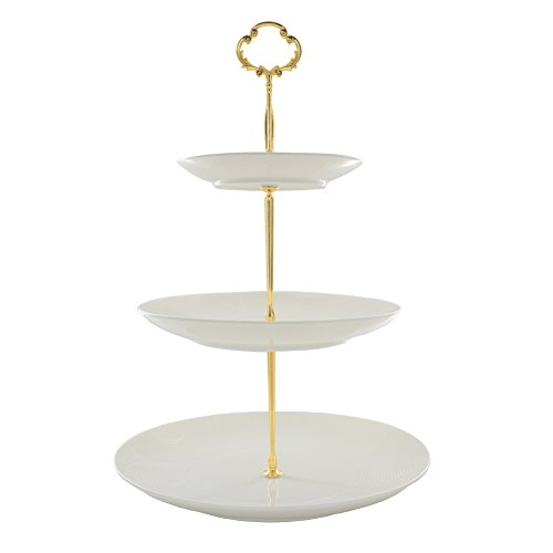 Artliving 3-tier Porcelain China Cake Stand-Dessert Stand-Cupcake Stand-Tea Party Serving Platter (Gold)