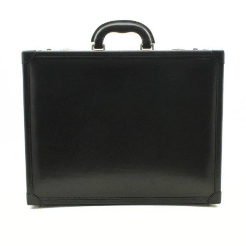 CUSTOM PERSONALIZED INITIALS ENGRAVING Tony Perotti Mens Italian Bull Leather Venezia Leather Grande Attache Case with Dual Combination Lock, Laptop Compatible in Black by Tony Perotti