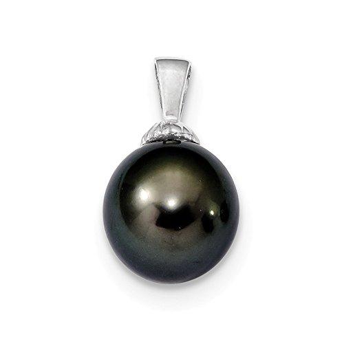 14k White Gold 11-12mm Black Tahitian Cultured Pearl ()