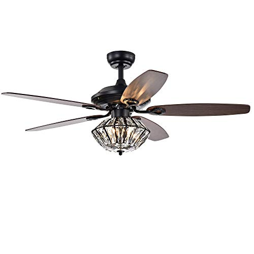 Warehouse of Tiffany CFL-8366REMO/MB Copper Grove Toshevo Remote Control 52-inch Lighted Crystal Shade Ceiling Fan, Black ()