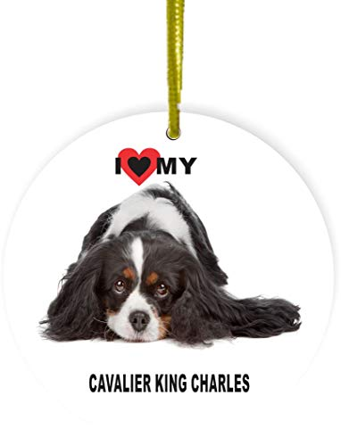 Rikki Knight I Love My Brown White Cavalier King Charles Dog Design Round Ornament/Car Rear View Mirror Hanger (Mirror Charles Round)
