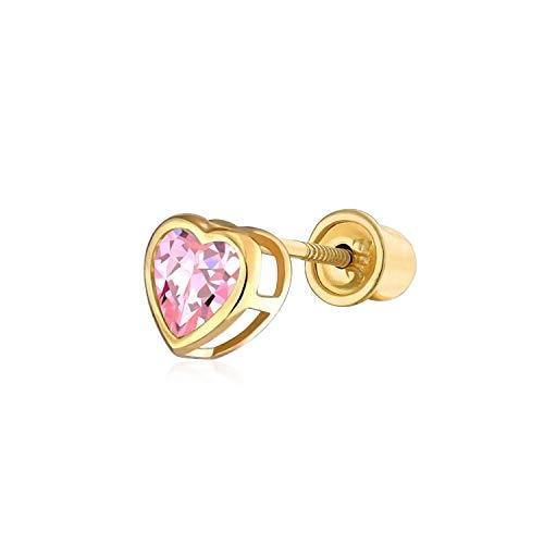 - Pink Cubic Zirconia Helix Cartilage Ear Lobe Piercing Daith CZ Heart 1 Piece Stud Earring Real 14K Gold Screwback 4MM