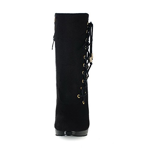 Allhqfashion Women's Round Closed Toe Low-top High-Heels Solid Imitated Suede Boots Black DhqDdJ2xIr