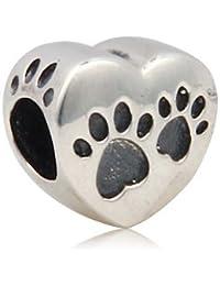 Love Dog Puppy Paw Footprint on Heart 925 Sterling Silver Bead Fits European Charm Bracelet