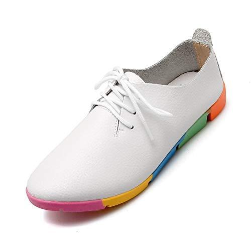 Mujer Piel y Heel Flat Vaca Sneakers White de de Comfort Verano ZHZNVX Negro Blanco Primavera Zapatos de de EzIppw