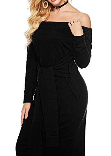 Sexy Womens Casual Dress Sleeve Party Pockets Mathews The Dresses with Off with Shoulder Loose Belt Black Sarin Long 5vxF4E7wqx