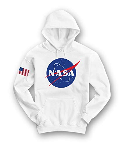 (Riot Society NASA Meatball Logo Womens Hoodie - White, Medium)