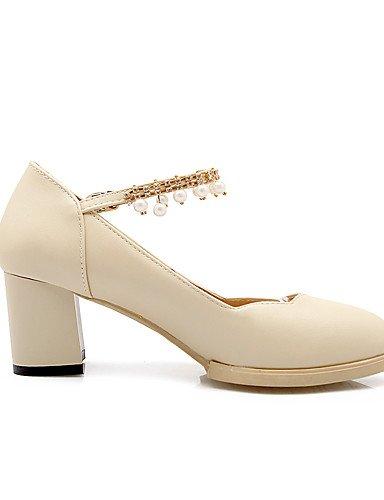 GGX/Damen Schuhe PU Sommer-/, Round Toe Heels Büro & Karriere/Casual geschoben Ferse Nachahmung Pearl/Schnalle schwarz/weiß/beige white-us7.5 / eu38 / uk5.5 / cn38