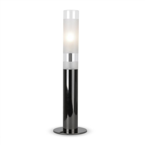 Contemporary cylindrical black chrome and frosted glass touch table lamp