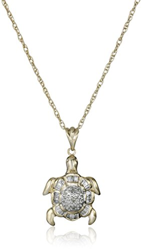 10k Yellow Gold Washed Sterling Silver Diamond Turtle Pendant Necklace (1/7 cttw, J Color, I3 ()