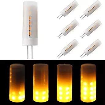 12 x MASONANIC LED Flame Bulb, G4 Base 2W 8-30V 1300K True Fire Color, led Bulb,Decorative Lamp for Christmas, Halloween, Festival, Party (12 Pack)