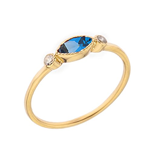 (Dainty 10k Yellow Gold Solitaire Blue and White Topaz Modern Engagement/Proposal Ring (Size 9))