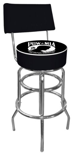 POW Padded Swivel Bar Stool with Back
