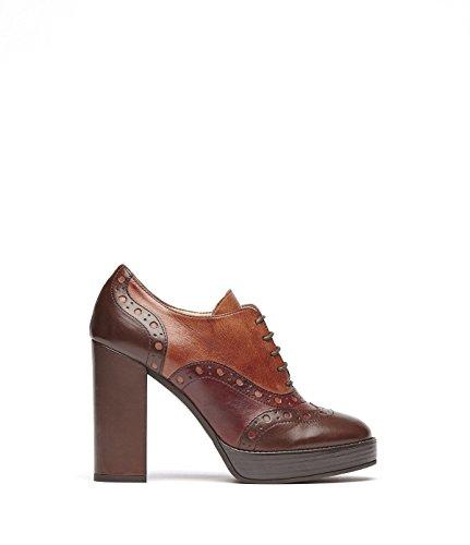 Poi Lei PoiLei Aida - Damen-Schuhe/Exklusive Budapester Plateau-Schnürschuhe Aus Echt-Leder - mit Hohem Block-Absatz und Front-Schnürung - Braun