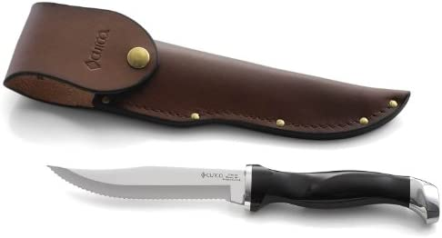 CUTCO Model 1769 CUTCO Hunting Knife with leather sheath in white CUTCO Gift Box …………………Classic Dark Brown handle often referred to as Black and 5-3 8 Double-D serrated blade.