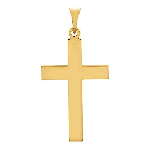 14K Gold Simple Cross Charm Pendant (22,