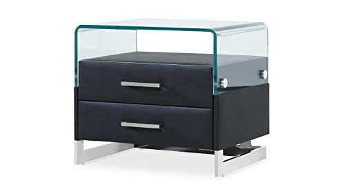 Zuri Furniture Modern Janus Black Leatherette Night Stand with Bent Glass and 2 Drawers