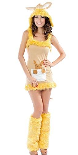 Smile YKK Suede Kangaroo Cutie Two Piece Mini Dress Costume Cosplay Set (Kangaroo Cutie Adult Costume)