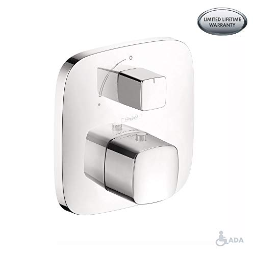 Hansgrohe 15771401 PuraVida Thermostatic Trim with Volume Control and Diverter, White/Chrome