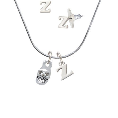 6ae2502b5cc3 delicate Mini Skull - Z Initial Charm Necklace and Stud Earrings Jewelry Set