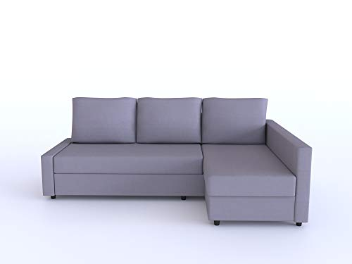 Lindakale Replace Cover for IKEA Friheten Sofa Bed, Chaise on The Left When sit on The Sofa, Sung fit 100% Cotton Sofa Cover (Gray)