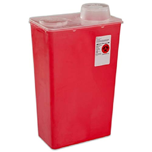 Red Sharps Top Container Chimney - Covidien 8881676434 Sharps-A-Gator Sharps Container, Chimney Top, 14 Quart, Red (Pack of 10)