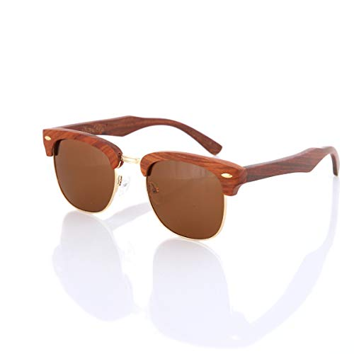Rose Wood Wooden Sunglasses by Shaderz - Vintage Retro Classic 100% Natural Eco Friendly Handcrafted Lightweight Club Unisex Half Semi-Rimless Rimmed Frames - Pouch Included - CM Brown