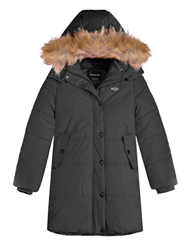 (Wantdo Girl's Fur Hooded Thicken Winter Puffer Coat Fleece Parka Black 10/12)