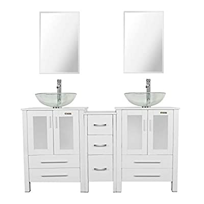 eclife Frosted Sink Bathroom Vanity Combo