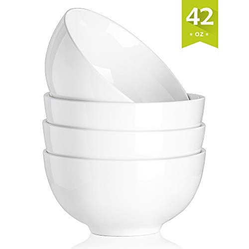 Malacasa Porcelain Bowls 42 Ounce for Cereal, Soup, Salad and Desserts, Deep Rice Bowl Set Dishes, 4 Packs, White