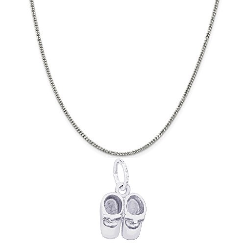 - Genuine Rembrandt Charms Sterling Silver Baby Booties Charm on a Sterling Silver Curb Chain Necklace, 18