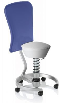Aeris Swopper Classic - Bezug: Care / Weiß | Polsterung: Standard | Fußring: Titan | Spezial-Rollen für Teppichböden | mit Lehne und blauem Microfaser-Lehnenbezug | Körpergewicht: SMALL