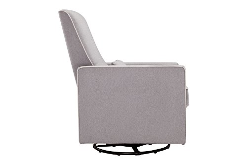 DaVinci Piper All-Purpose Upholstered Recliner with Cream Piping, Grey Finish