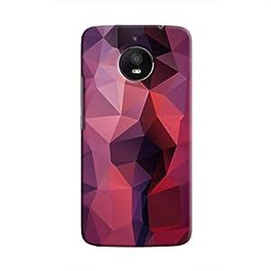 Cover It Up - Dark Purple Red Pixel Triangles Motorola Moto E4 Plus Hard Case