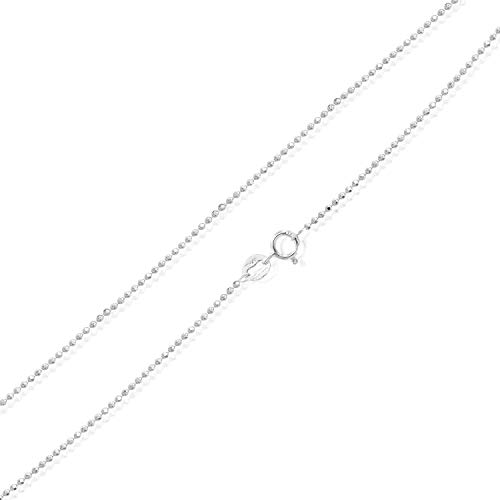 Sea of Ice Sterling Silver 1mm Round Ball Bead Chain Necklace, Size 36""