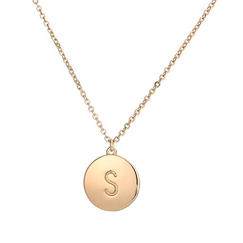 Youthway Copper Initial Necklace (S) for Women 26 Letters Disc Monogram Chain Necklace Jewelry Gift for Her