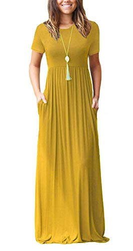 Women's Short Sleeve Long Maxi Summer Casual Dresses Yellow - 3/4 Shirt Stretch Denim Sleeve